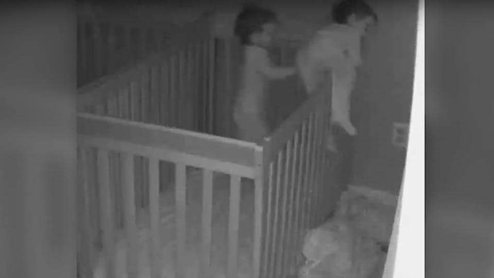 The nearly two-minute video ends with Greyson interrupting Judah's sleep for a little play and eventually sleeping on his brother's back. (Screengrab)