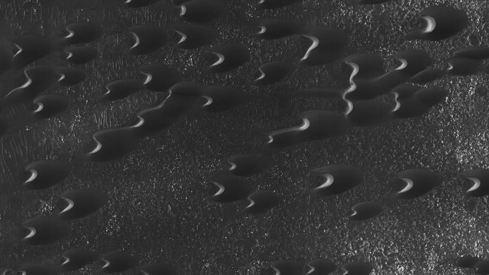 Sand dunes are scattered across Mars just west of the Hellas impact basin.