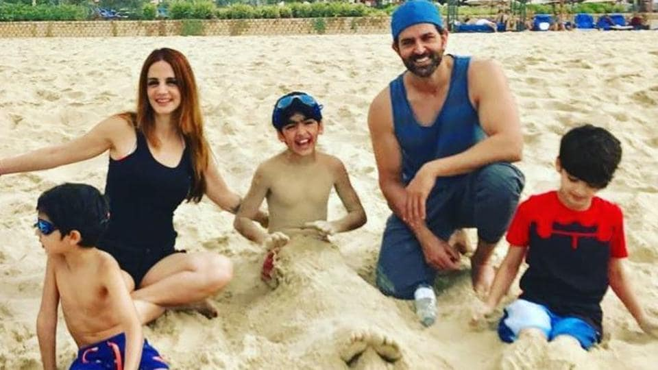 Actor Hrithik Roshan and ex-wife Sussanne Khan spend time with kids even after divorce.