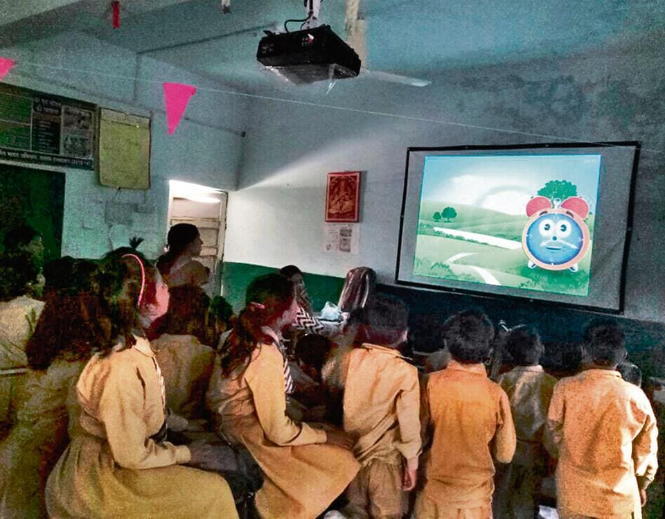 Smart classroom at a government run primary school in Allahabad.