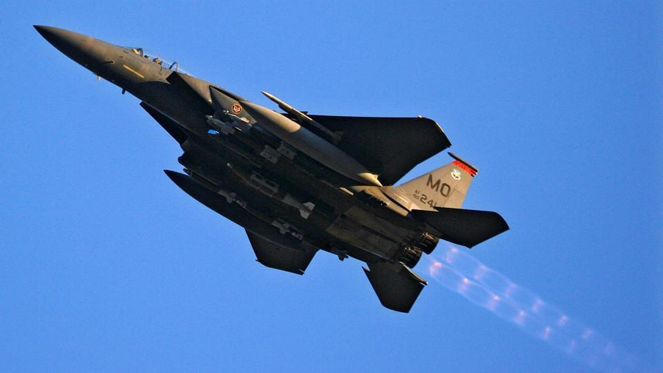 File photo of a US Air Force F-15 jet doing a low-level flyby over Forward Operating Base Bostick in eastern Afghanistan on January 1, 2009.