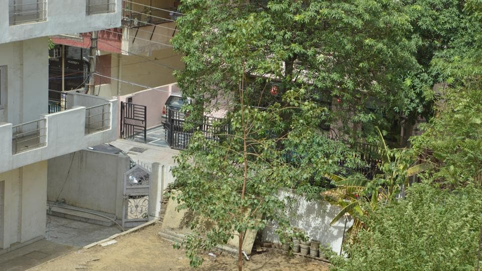 Plot belonging to retired IAS officer Tulsi Gaur in Shakti Khand-2, where the alleged burial took place on June 7.