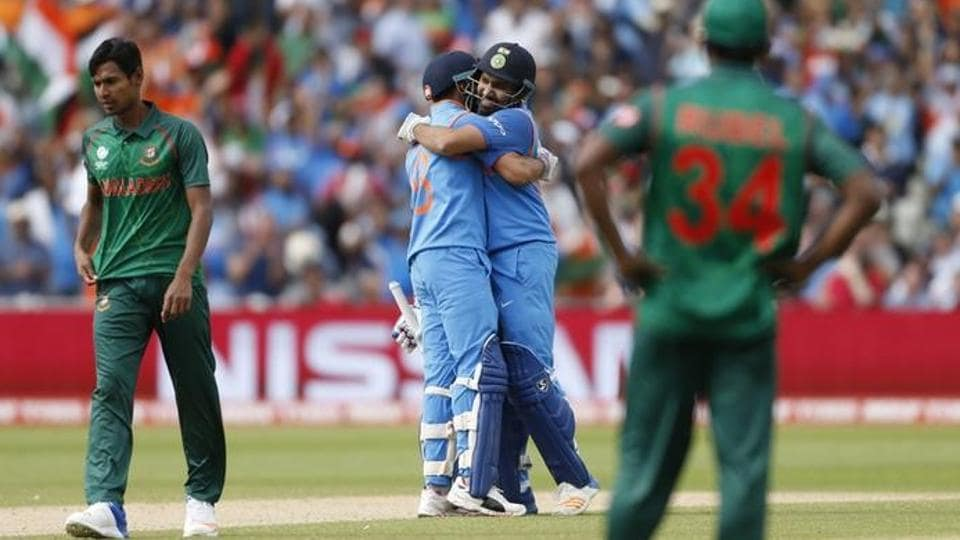 India's Rohit Sharma and Virat kohli celebrate after winning the ICCChampions Trophy semifinal against Bangladesh. (REUTERS)