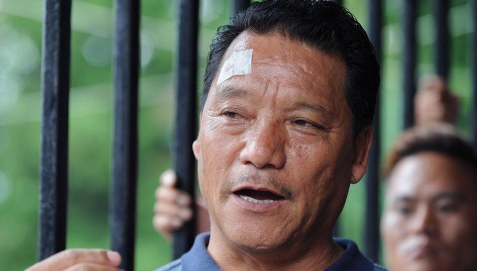 Bimal Gurung, head of the Gorkha Janmukti Morcha (GJM) party that seeks the creation of a separate state of Gorkhaland, during a conference in Darjeeling.