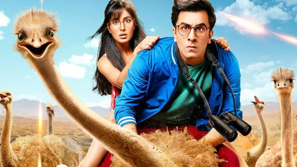Katrina Kaif and Ranbir Kapoor on a poster of Jagga Jasoos.