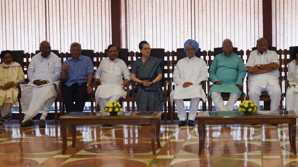 Congress president Sonia Gandhi chairs a meeting of the opposition leaders to discuss the strategy for the presidential election in New Delhi on Friday.