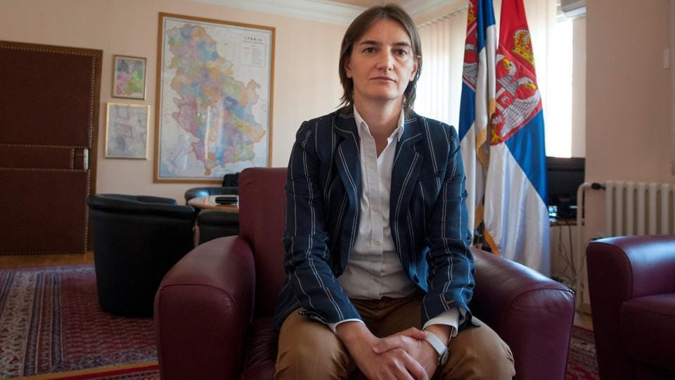 Serbia's then Public Administration and Local Government Minister Ana Brnabic looks on in Belgrade, Serbia, August 14, 2016. Serbia's President Aleksandar Vucic nominated Brnabic, the state administration minister, on June 15, 2017, to be the country's first female and openly gay prime minister.