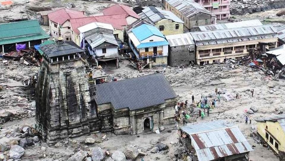 The devastated Kedarpuri township in the vicinity of Kedarnath shrine after the 2013 flashfloods.