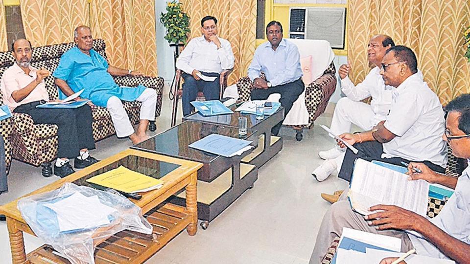 Bhim Rao Ambedkar Bihar University  vice chancellor Amrendra Nayaran Yadav holding a meeting with university officials at Muzaffarpur.