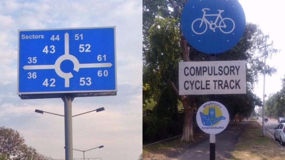 Direction signage poles have been completed on Dakshin Marg at the cost of Rs 1.5 crore (Left), and cycle tracks at the Sector 4-9 dividing road have been constructed at the cost of Rs 1.5 crore.