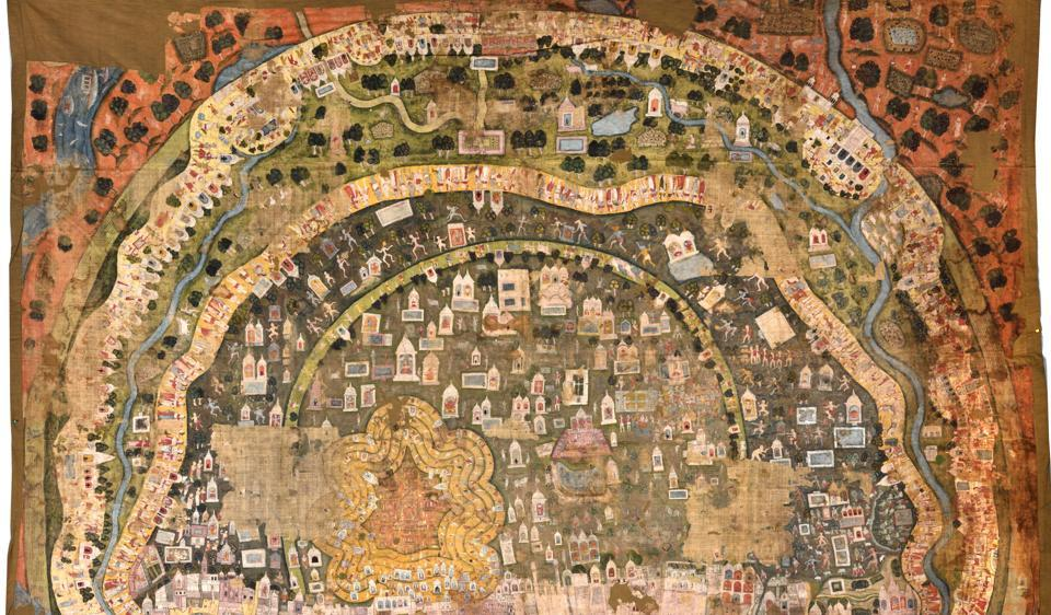 Pilgrimages on Banaras,  a painting on cloth made in Rajasthan in 1800 AD.