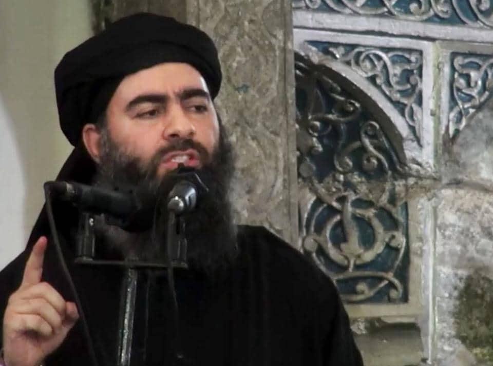 File photo of Abu Bakr al-Baghdadi delivering a sermon at a mosque in Iraq.