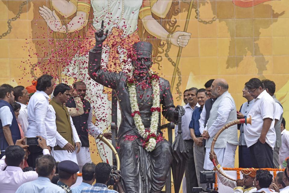 BJP national president Amit Shah with Maharashtra chief minister Devendra Fadnavis visit Swatantryavir Savarkar Rashtriya Udyaan at Shivaji Park, Dadar, in Mumbai on Friday.