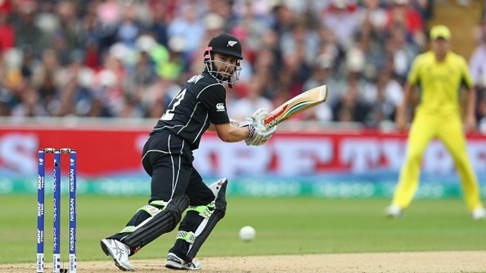 Kane Williamson, New Zealand skipper, plays a shot to third man during the ICC Champions Trophy match between Australia and New Zealand at Edgbaston.