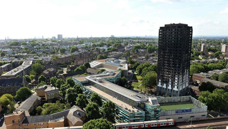 The remains of Grenfell Tower, which was gutted by fire on Wednesday.