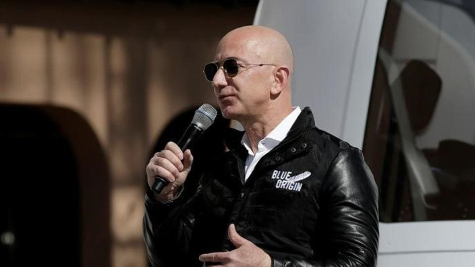 Amazon and Blue Origin founder Jeff Bezos addresses the media about the New Shepard rocket booster and Crew Capsule mockup at the 33rd Space Symposium in Colorado Springs, Colorado, United States.