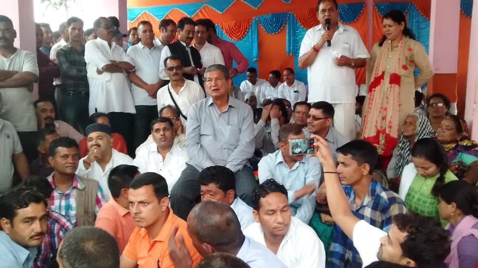 Former chief minister Harish Rawat during his 'Gairsain Zindabad Yatra' at Gairsain in Chamoli district.