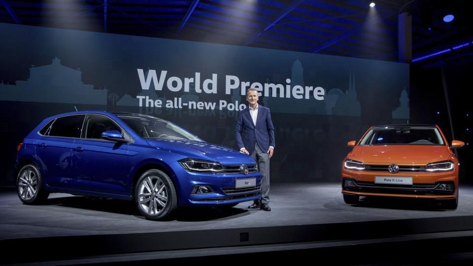 Herbert Diess, chairman of the brand management of Volkswagen passenger car, presents the new VW Polo during the world premiere in Berlin on Friday.