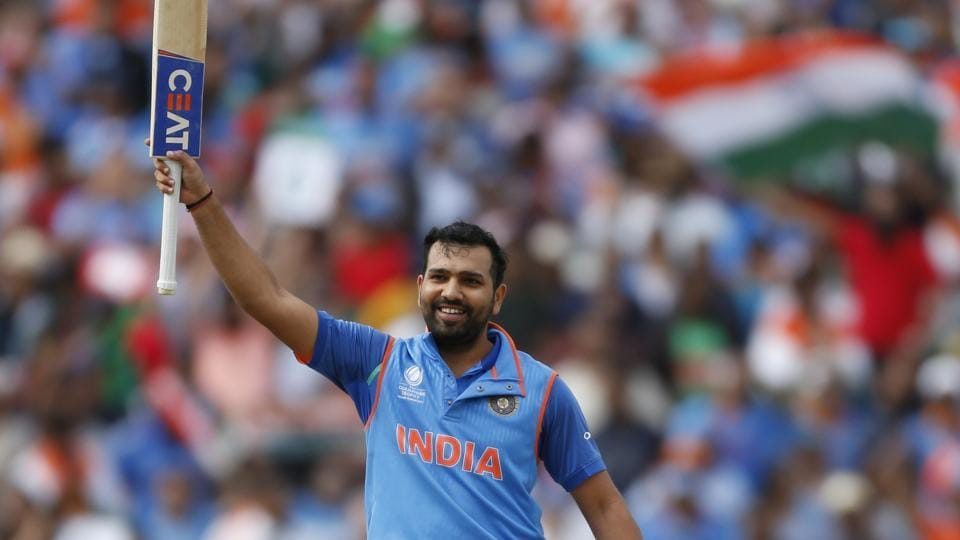 Rohit Sharma celebrates his 11th ODI century during the ICC Champions Trophy semi-final between India and Bangladesh at Edgbaston, Birmingham, on Thursday.