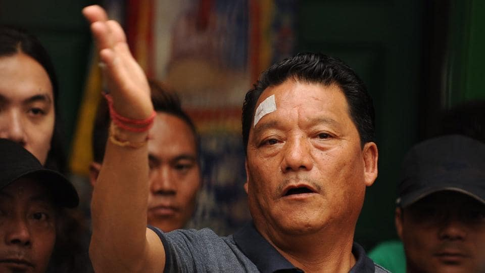 Bimal Gurung, head of the Gorkha Janmukti Morcha (GJM) party takes part in a news conference in Darjeeling on June 14, 2017.