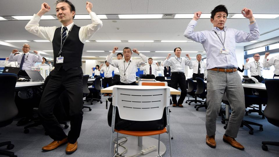 The rajio taiso routine is considered by many as a Japanese tradition, although the idea was actually borrowed from a similar programme sponsored by an insurance company in the United States.It spread quickly throughout Japan, as workplaces, schools and local communities got into the routine. (TORU YAMANAKA  / AFP)