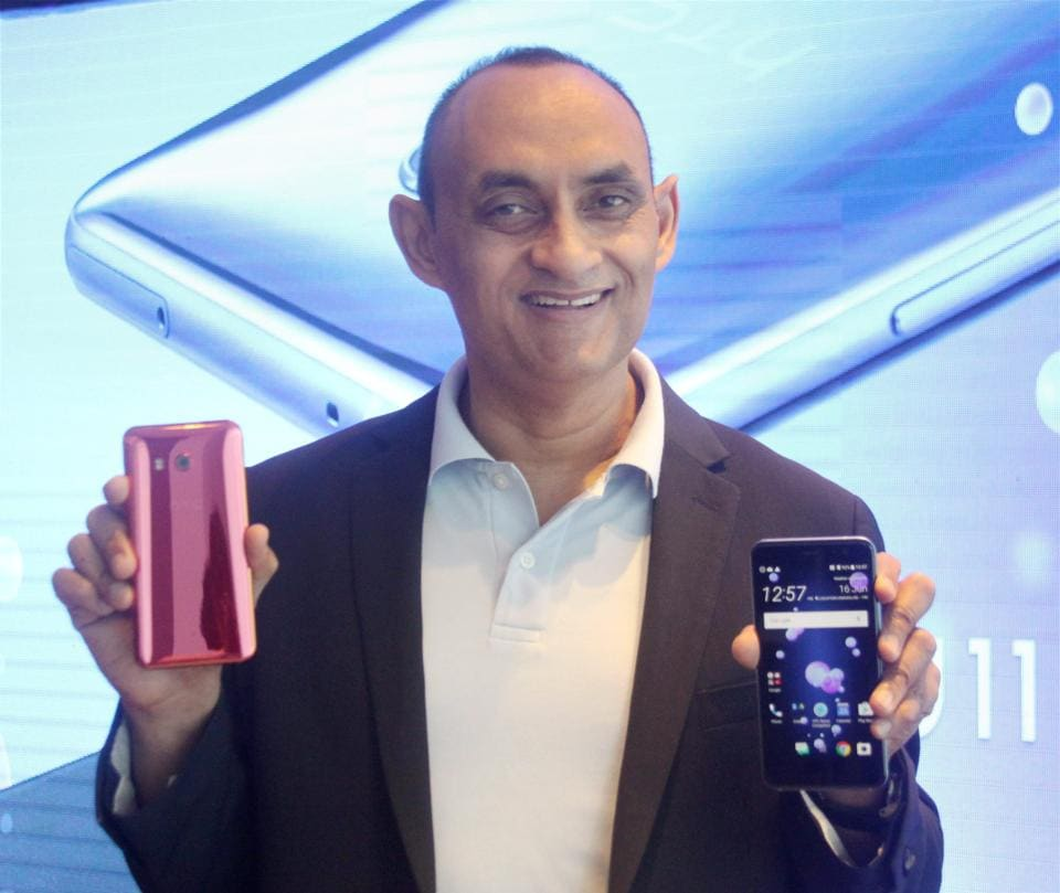 HTC South Asia president Faisal Siddiqui launching the new HTC U11 smartphone in Gurugram on Friday.