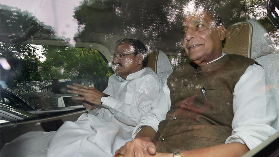 BJP leaders Rajnath Singh and Venkaiah Naidu leave after meeting Congress president Sonia Gandhi after a discussion on the presidential poll in New Delhi on Friday.