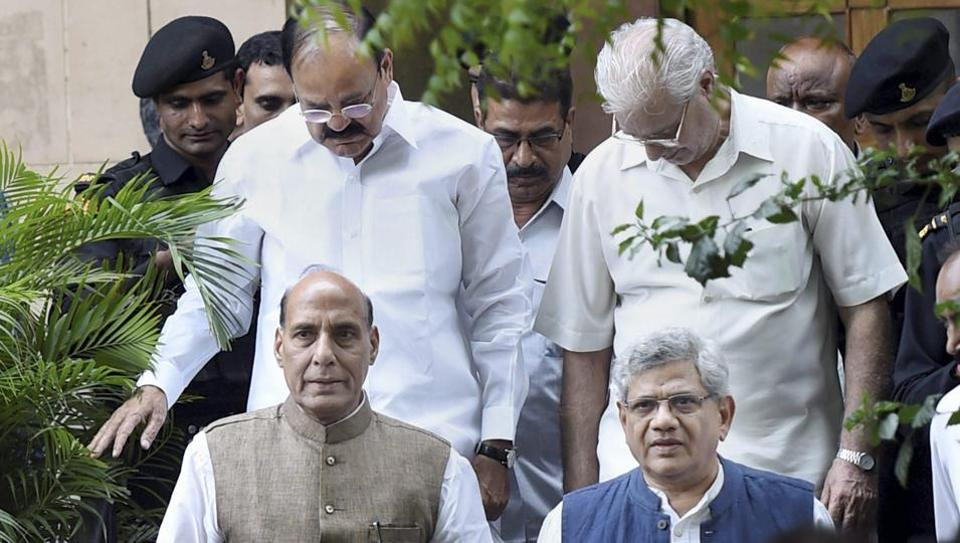 Union ministers Rajnath Singh and Venkaiah Naidu with CPI(M) general secretary Sitaram Yechury leave after a meeting on presidential poll as part of the ruling party's outreach to stitch a consensus in New Delhi.