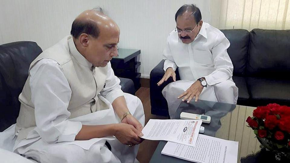 Union home minister Rajnath Singh and urban development minister M Venkaiah Naidu in a meeting in New Delhi on Wednesday.