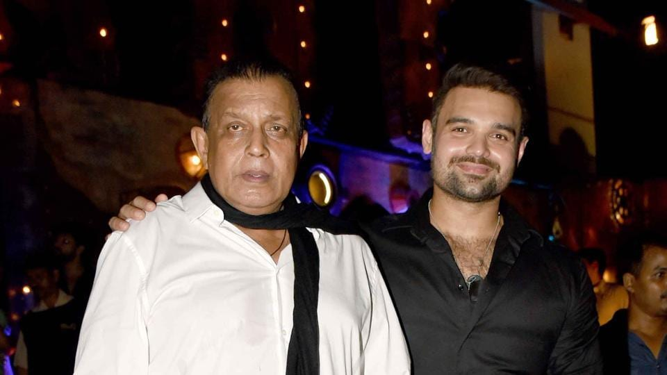 MUMBAI, INDIA - APRIL 6, 2017 : Mithun Chakraborty with his son, Mahaakshay Chakraborty attended Ram Gopal Varma's Birthday on Thursday April 6, 2017 in Mumbai, India. (Freelance photo by Yogen Shah)