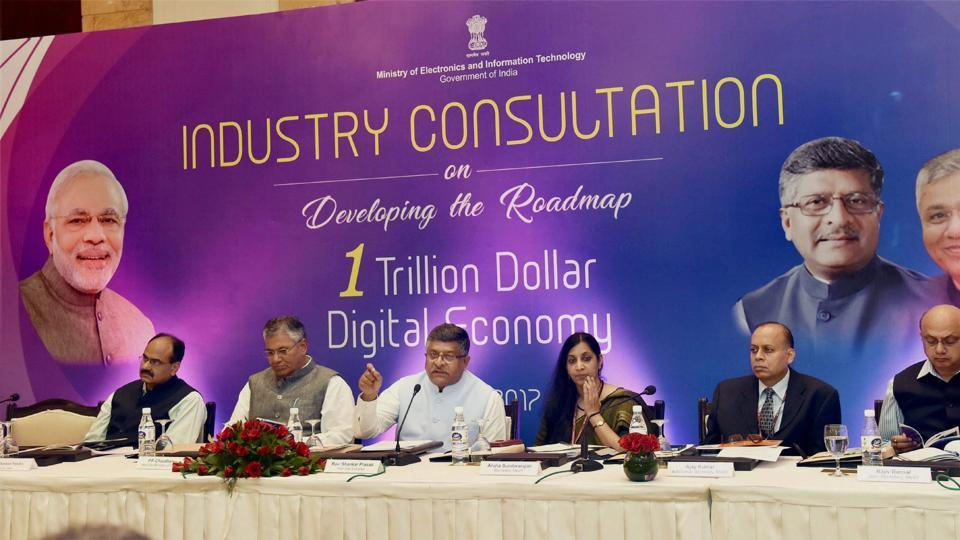 Union minister for electronics & information technology and law & justice, Ravi Shankar Prasad chairs a meeting with pioneers of Industry for developing the roadmap for one Trillion Dollar Digital Economy of India, in New Delhi.