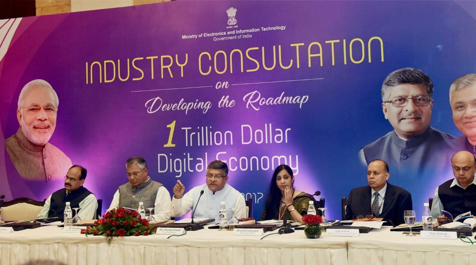 Union Minister for Electronics & Information Technology and Law & Justice, Ravi Shankar Prasad chairing a high level Round Table with Pioneers of Industry for developing the roadmap for one Trillion Dollar Digital Economy of India, organised by MEITY, in New Delhi on Friday.