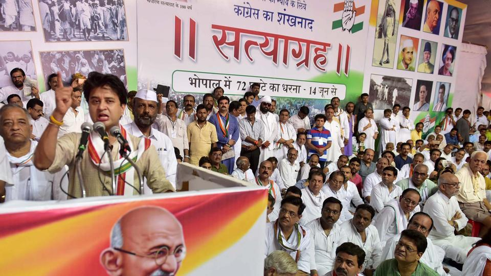 Congress leader Jyotiraditya Scindia addressing the gathering on the the last day of his 72-hr 'Satyagrah' in Bhopal on Friday.
