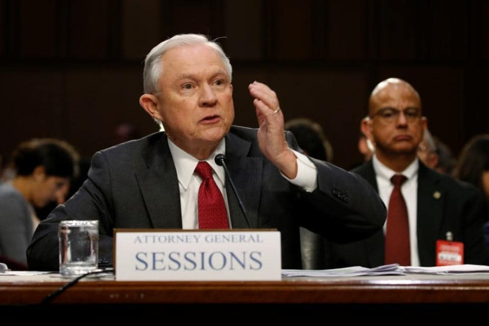 US attorney general Jeff Sessions at a Senate Intelligence Committee hearing on Capitol Hill in Washington.