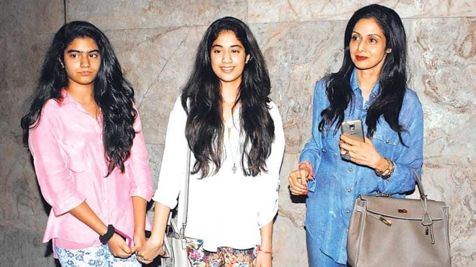 Sridevi's daughter Khushi (left) seen here with her mom and elder sister Jhanvi.