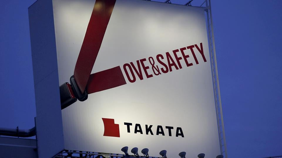 A billboard advertisement of Takata Corp is pictured in Tokyo