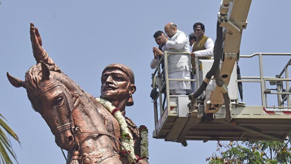 BJP president Amit Shah and CM Devendra Fadnavis after garlanding the statue of Maratha warrior king Shivaji at Shivaji Park, Dadar, on Friday.