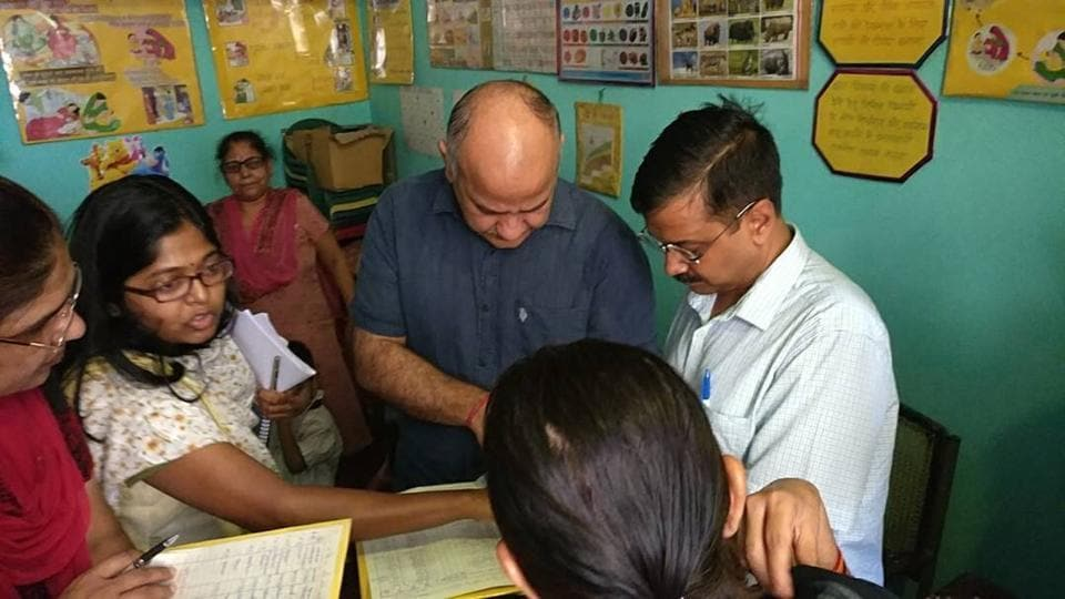 Kejriwal and Sisodia visited School block no 86 and 87 in East Delhi's Shakarpur after which he said the government found that many aanganwadis existed only on paper.