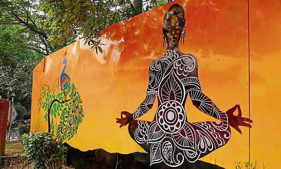 The council has also been painting yoga-themed graffiti on the walls of prominent locations in areas under its jurisdiction.