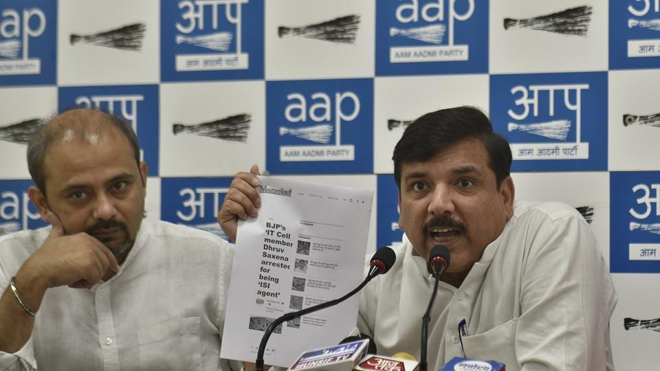 """In a letter to L-G Anil Baijal, Sanjay Singh (right) said, """" It is for the first time in the history that a government official is giving a Rs 28 lakh notice to the party in power."""""""