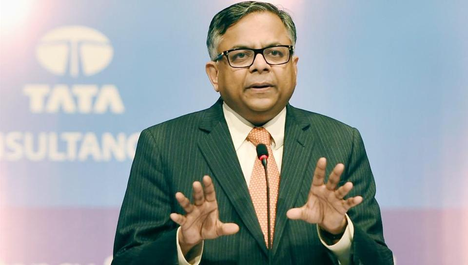 N Chandrasekaran, the chairman of Tata Sons, during the annual general meeting of Tata Consultancy Services (TCS) in Mumbai on Friday.