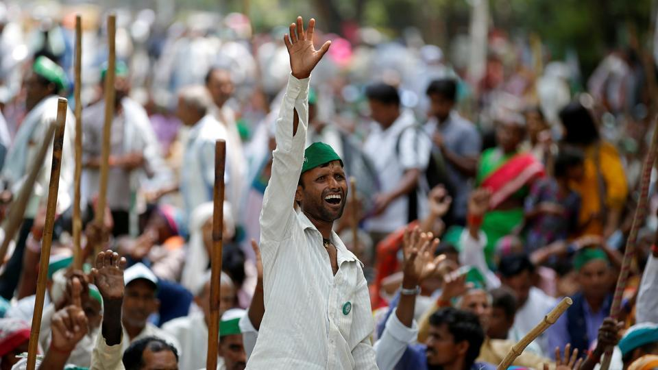 A man reacts during a protest against the killing of six farmers in Madhya Pradesh on Saturday.