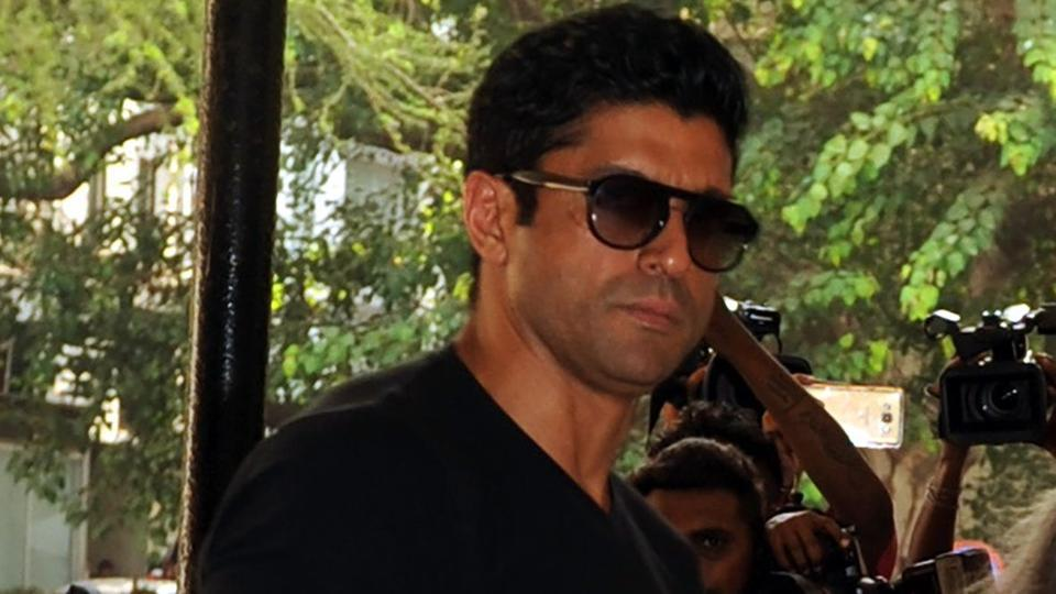 Farhan Akhtar attends a prayer meeting for the late actor and politician Vinod Khanna, in Mumbai.
