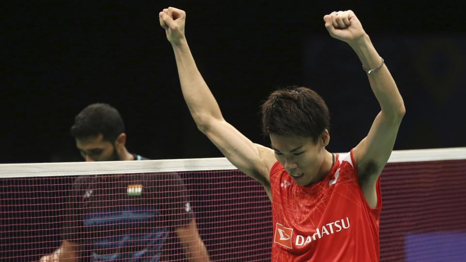 Japan's Kazumasa Sakai celebrates after defeating HS Prannoy in the men's singles semifinal match of the Indonesia Open Super Series Premier badminton tournament in Jakarta on Saturday.