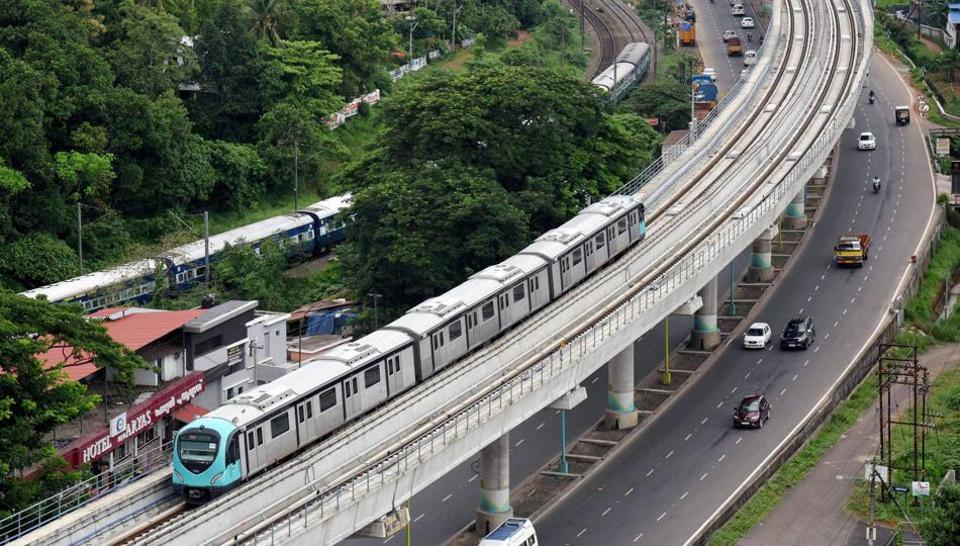 The final trial run of the Kochi Metro at Aluva in Kochi on Friday a day before its inauguration by Prime Minister Narendra Modi.