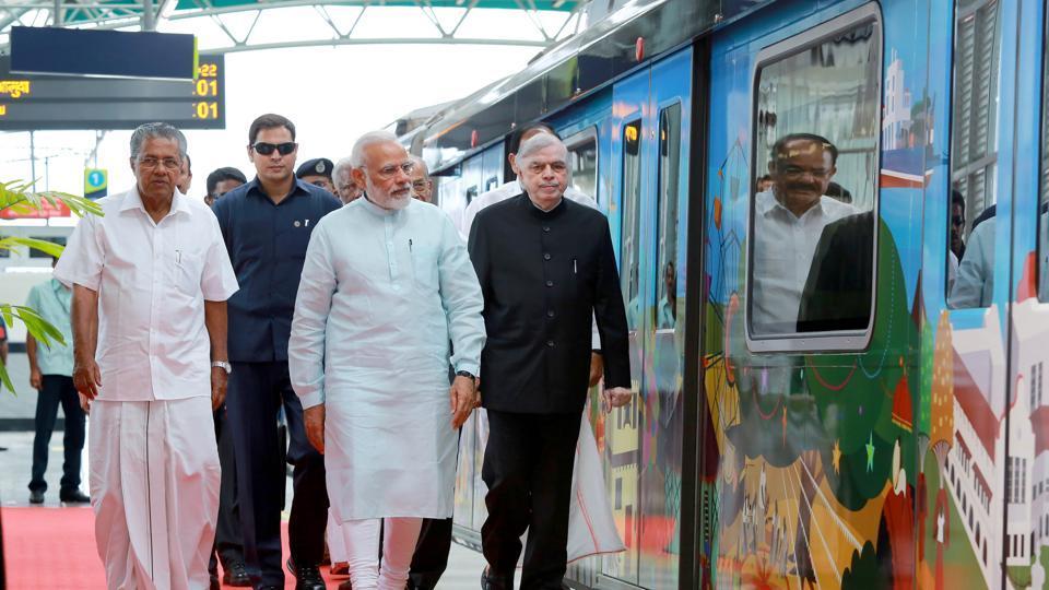 PM Narendra Modi during the inaguration of Kochi Metro.
