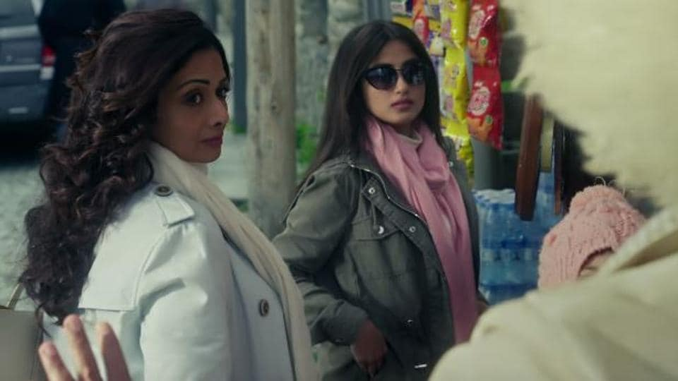 Sridevi and Sajal Ali in a still from the first song of Mom, O Sona.