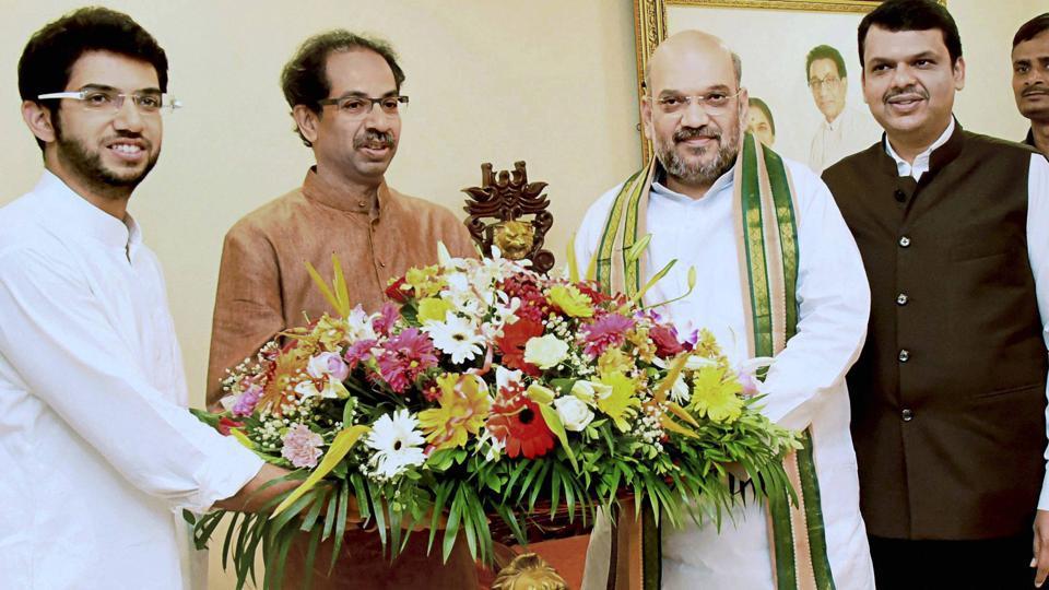 BJP president Amit Shah along with Maharashtra chief minister Devendra Fadnavis meets Shiv Sena chief Uddhav Thackeray and his son Aditya Thackeray at Matoshree in Mumbai on Sunday.