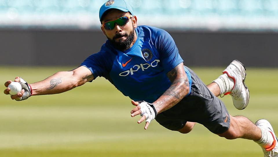 Indian cricket team captain Virat Kohli during fielding drills on Saturday, the eve of the ICC Champions Trophy 2017 final against Pakistan cricket team at The Oval in London.