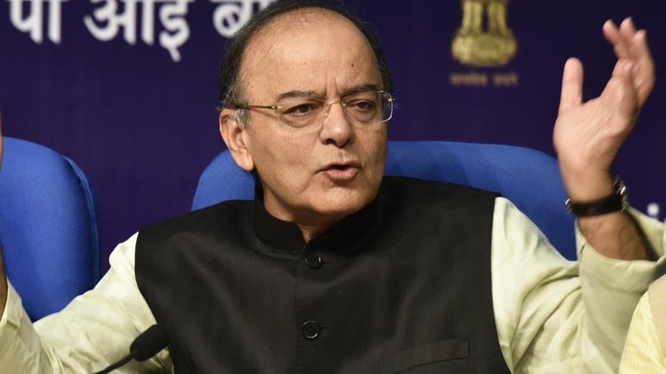 Finance minister Arun Jaitley at a press conference in New Delhi, on June 1, 2017.